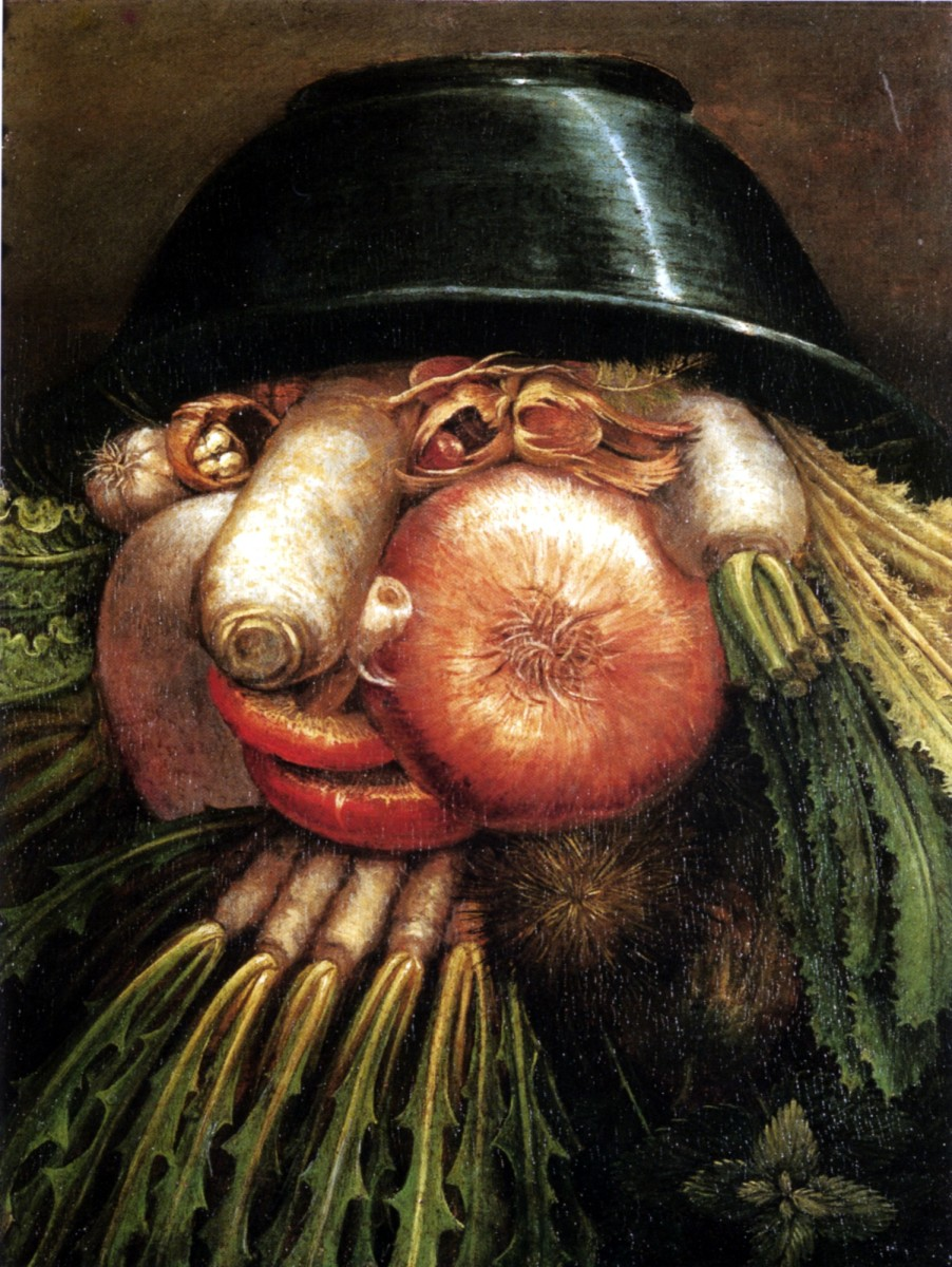 """The Greengrocer,"" by Guiseppe Arcimboldo—a fusion of the human and the vegetable."