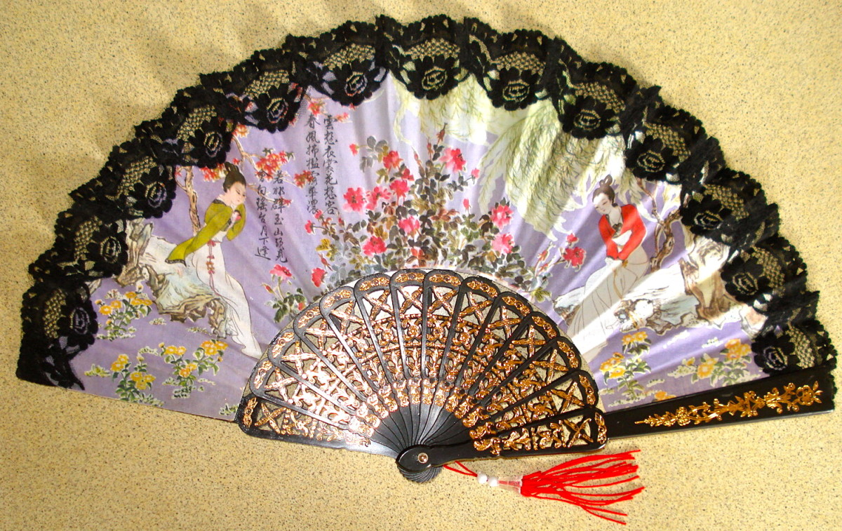 An Elegant Lace-Trimmed Folding Fan