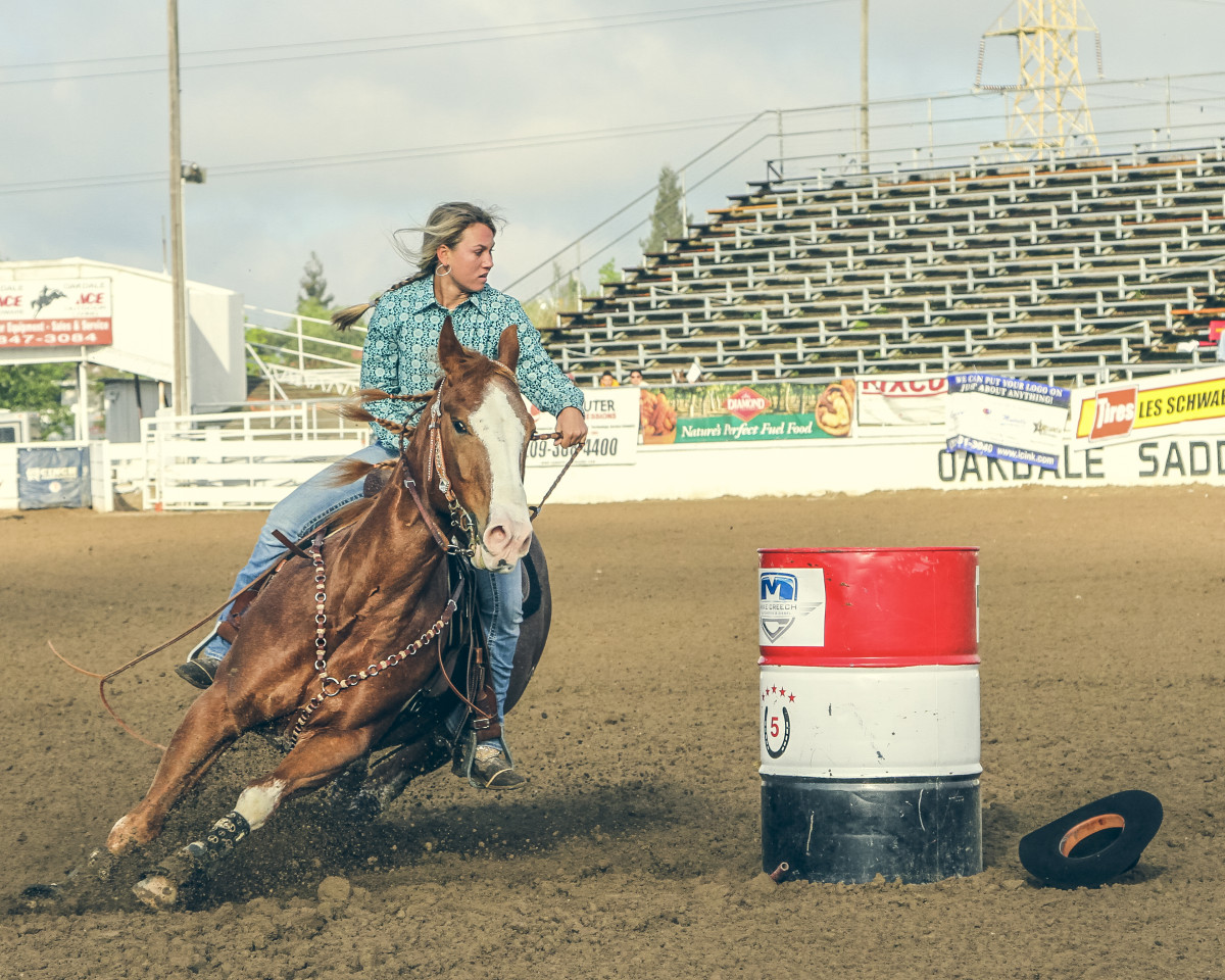 Rider making a turn around a barrel