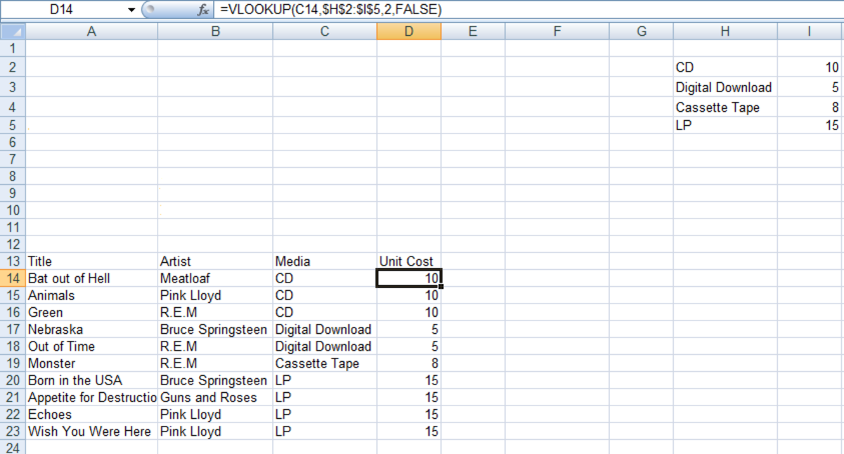 Example of how to use VLOOKUP to return information about an item you are interested in (in this example an item's cost) using Excel 2007 and Excel 2010.