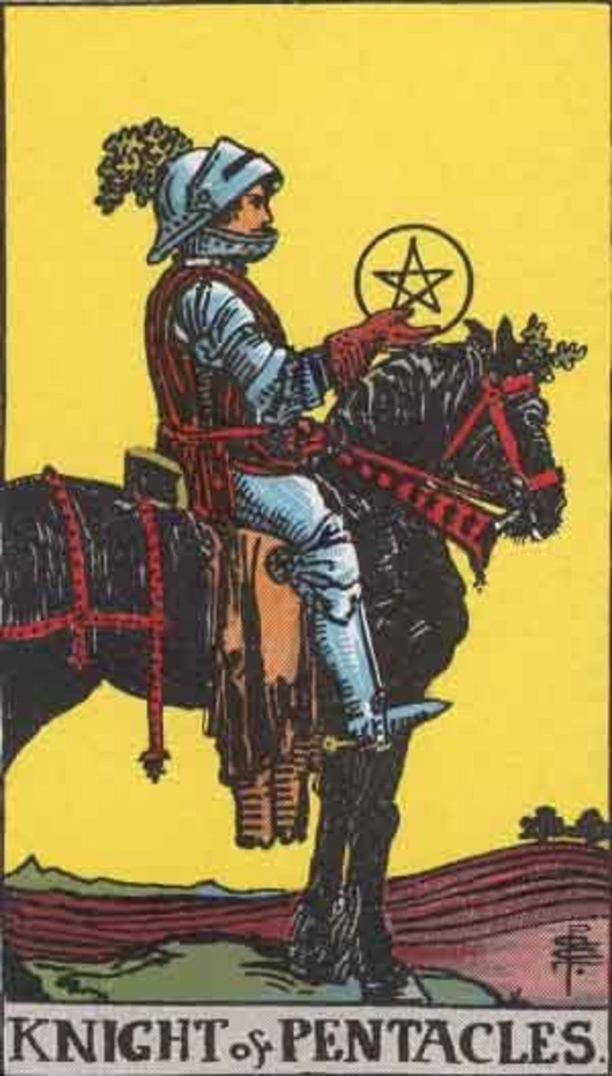 Rider-Waite Knight of Pentacles. Public domain image. Pamela A. version c 1909.