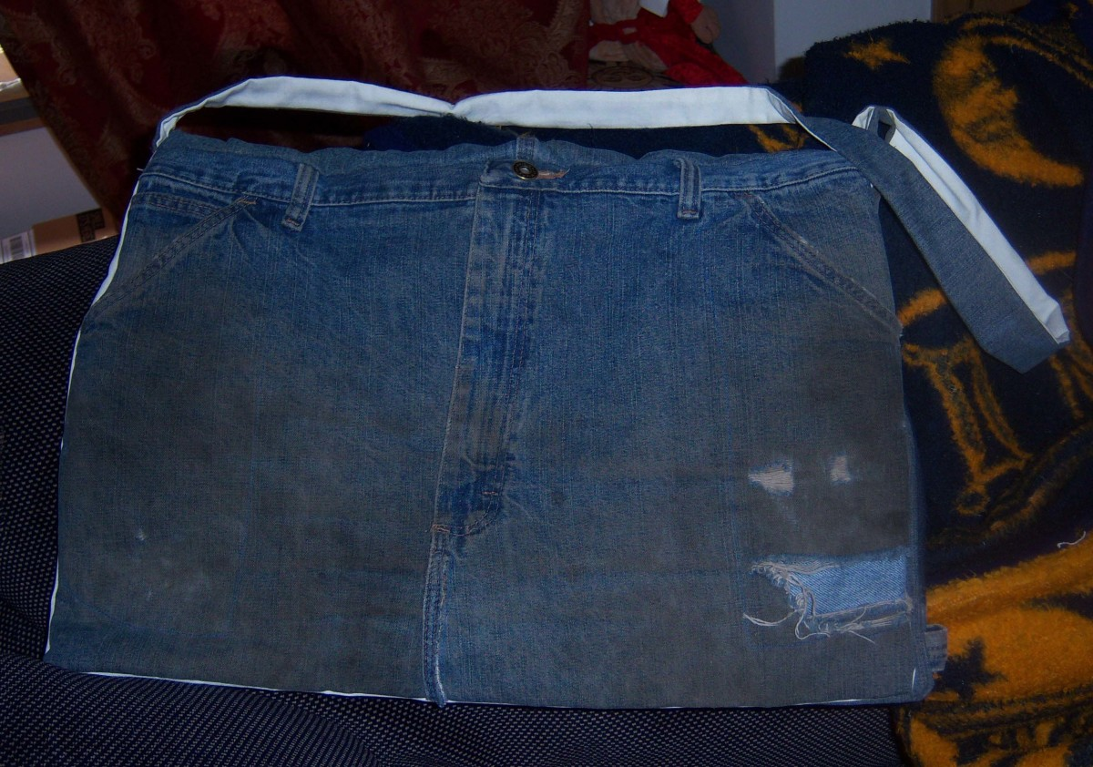 My completed jeans messenger bag. It worked great for a day out with the girls.