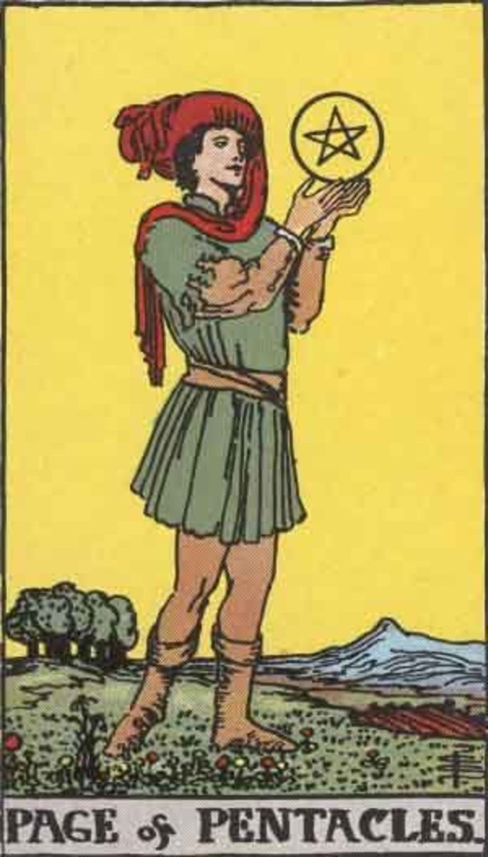 The Rider-Waite Page of Pentacles. Public domain image. Pamela A. version circa 1909.