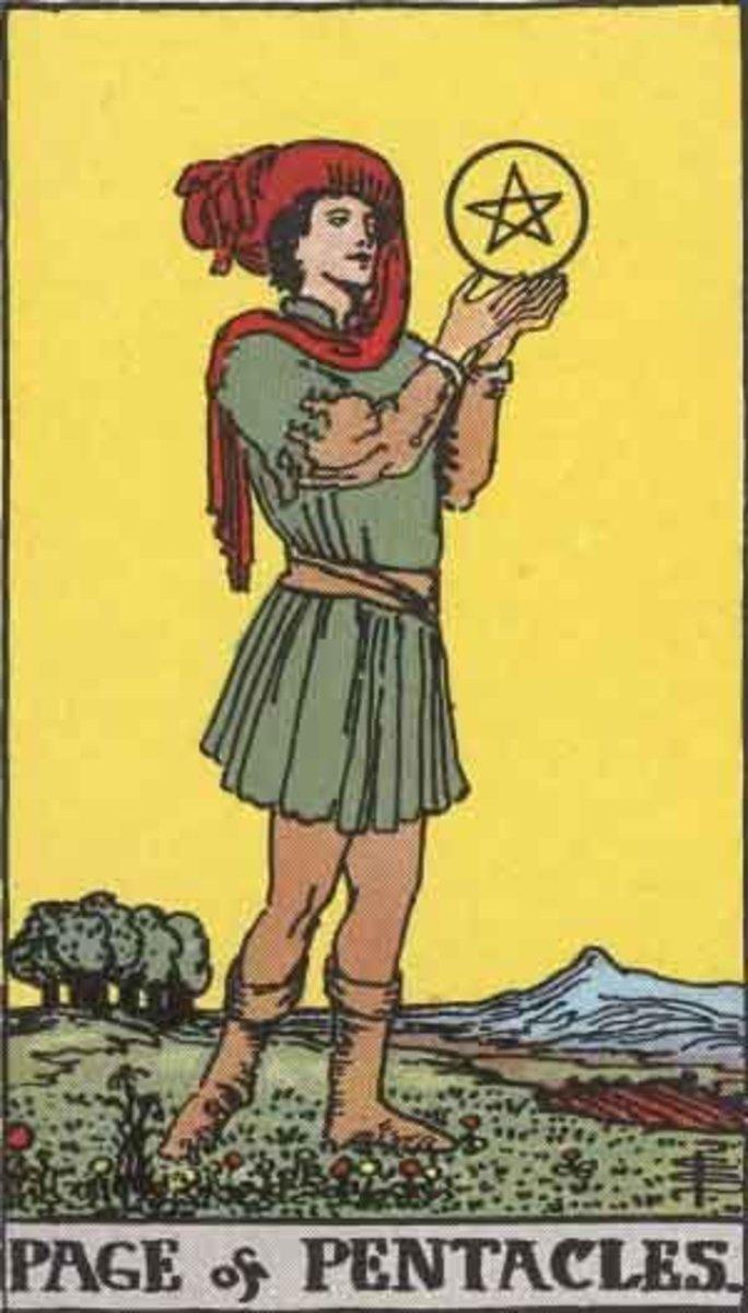 The Rider-Waite Page of Pentacles. Public domain image. Pamela A. version circa 1909.