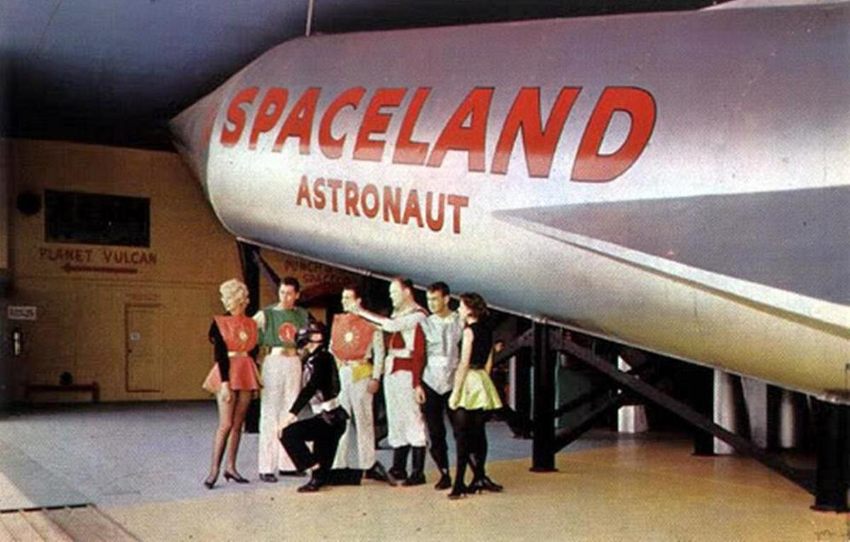 The Spaceland rocket, seen here on an official postcard.
