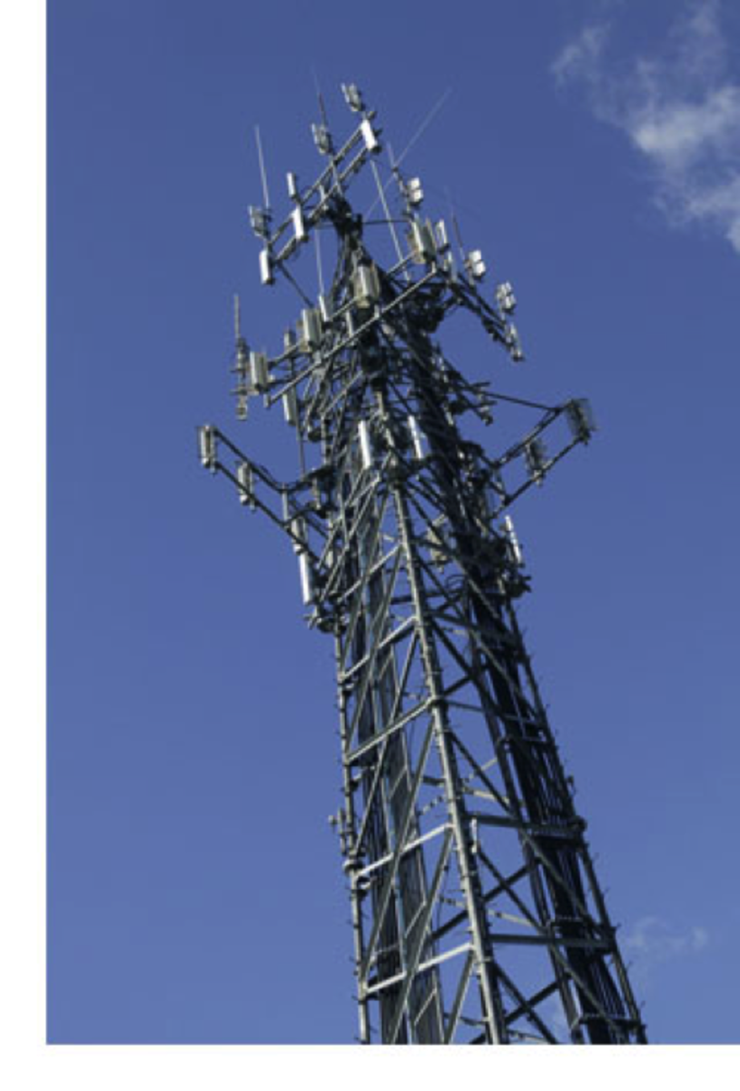 The top of a cell phone tower is where signals come in and go out to phones.