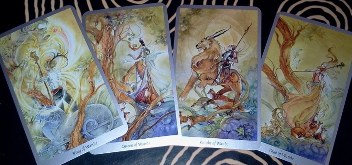 Suit of Wands Courts from the Shadowscapes tarot.
