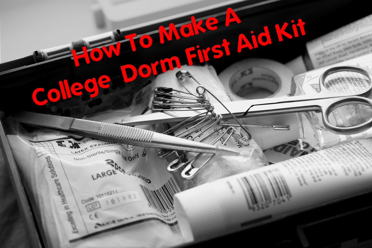 A dorm first aid kit is one more way of saying you care.  Send them off to college prepared to handle any minor mishap, from cuts and burns to colds and flu to headaches and diarrhea.