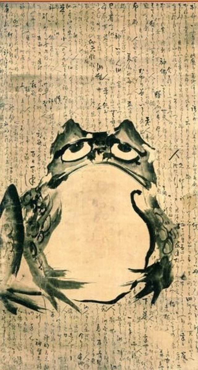 The most famous haiku by Bashō, composed sometime in the 1680's, reads: Furuike ya kawazu tobikomu mizu no oto - which translates roughly as: The old pond: a frog jumps in – the sound of water.