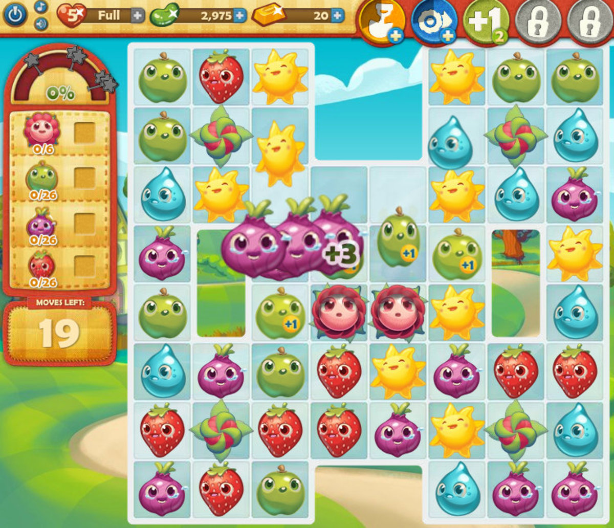 "This is the ""Farm Heroes Saga"" game board. Get advice on how to win this fun matching game!"