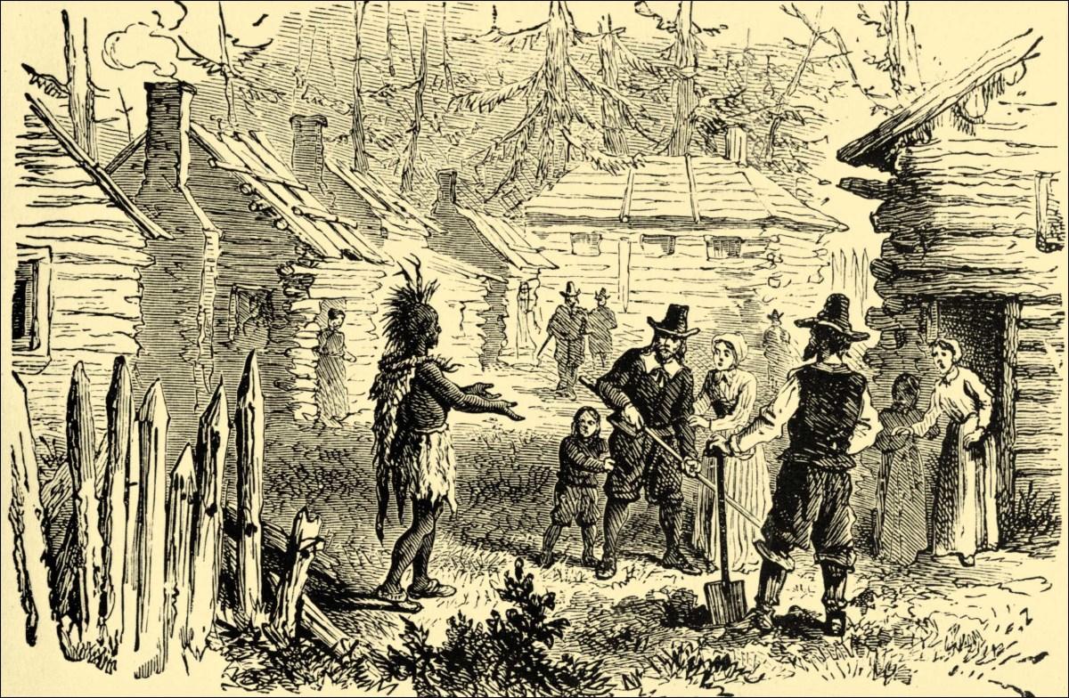 Samoset speaks to the British colonists.