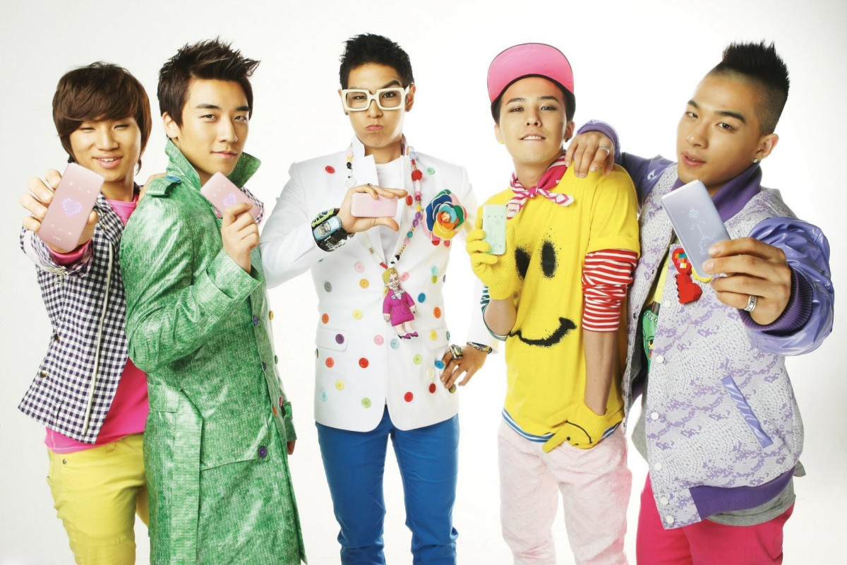 The members of Big Bang, an immensely popular Korean boy band.