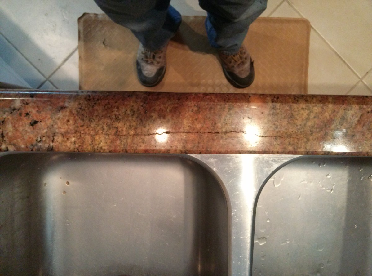 Rusting Reinforcement Rod Repair In Granite Countertop