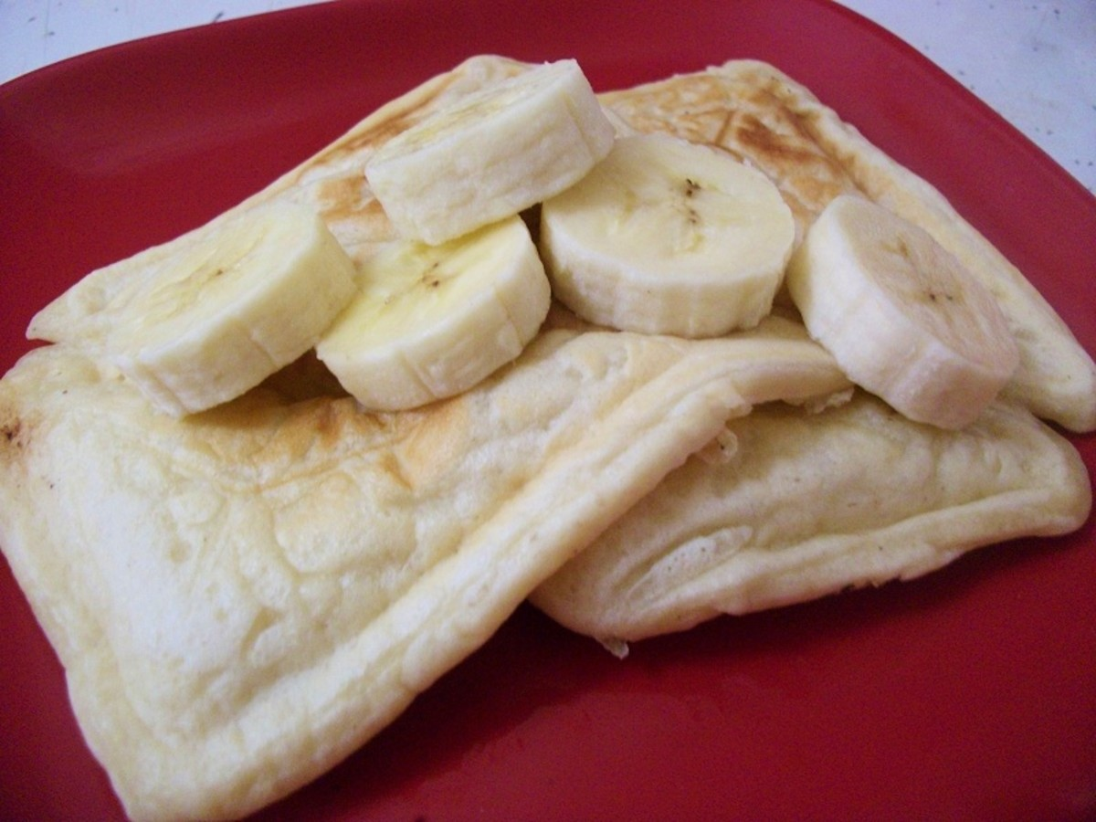 Beautiful Square Pancakes Topped with Banana Slices