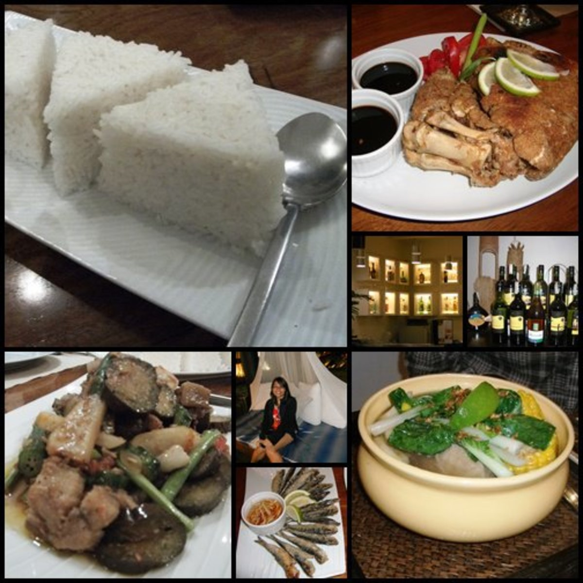A samplings of The T House's offerings:  Clockwise from left: (Triangular) rice, crispy pata, beef shank bulalo, fried tawilis, and pinakbet.