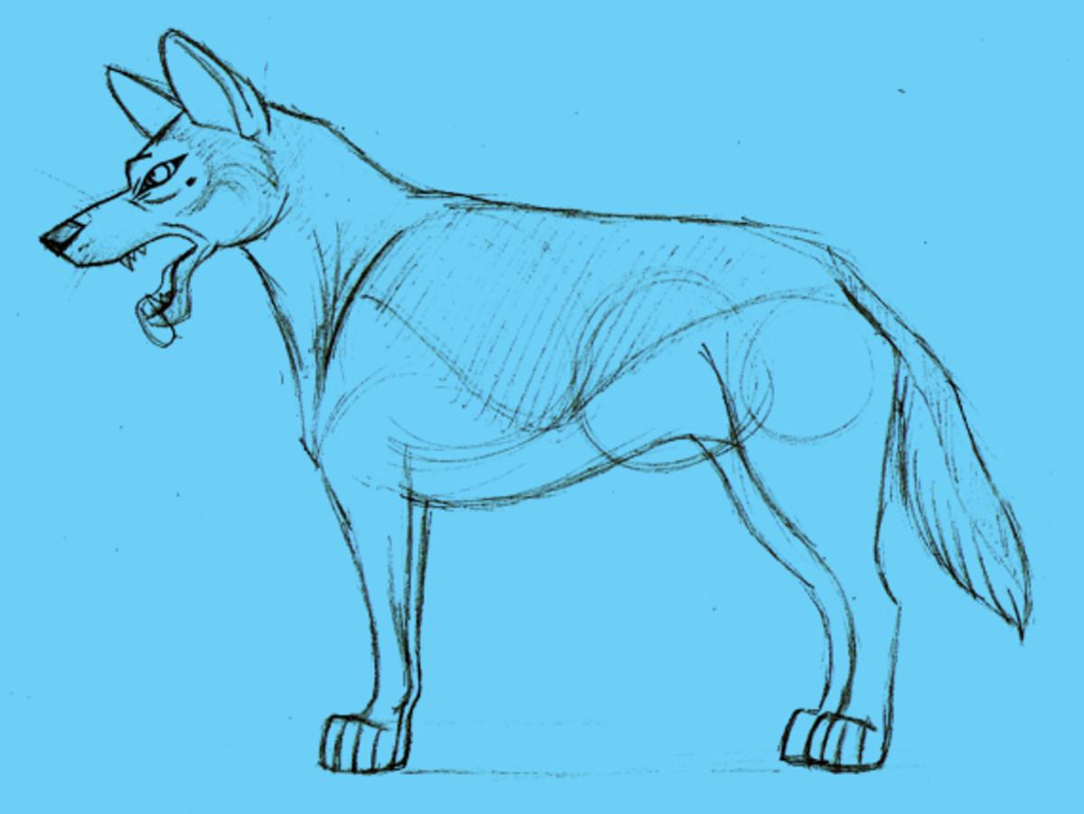 Pencil sketch of a semi-realistic dog