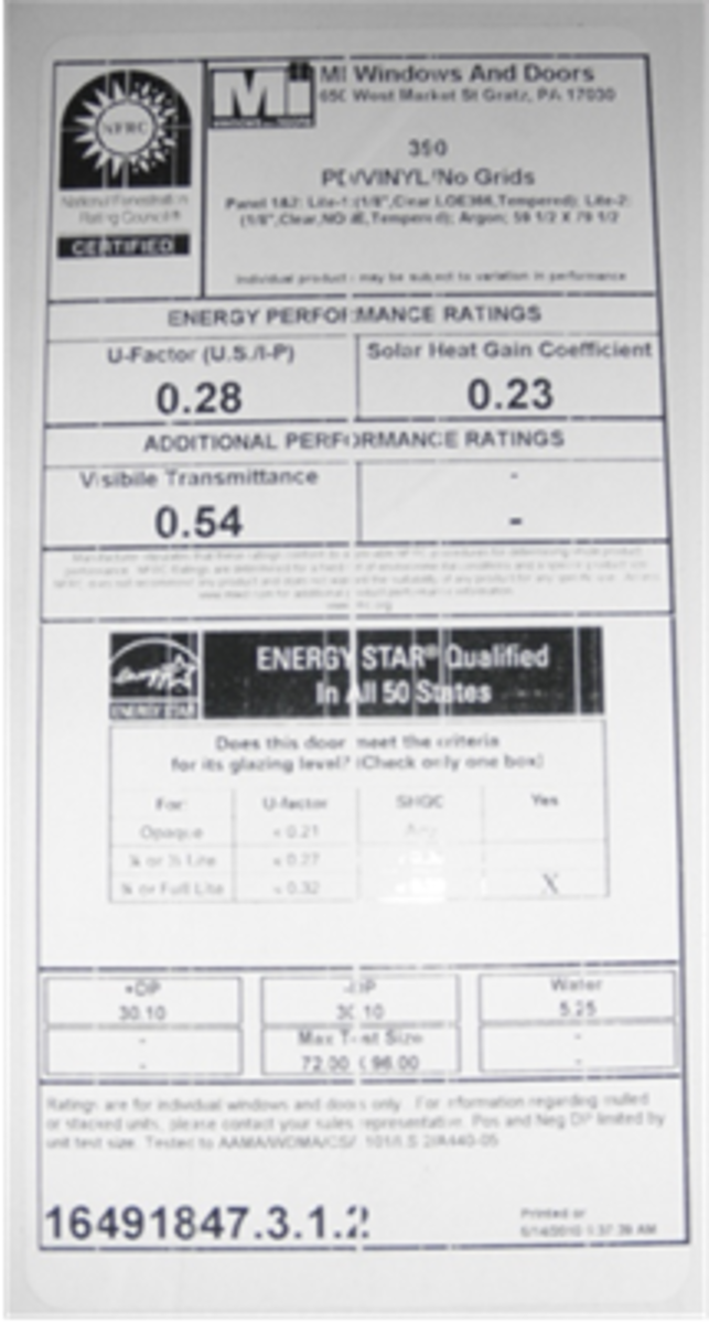 Energy performance rating label