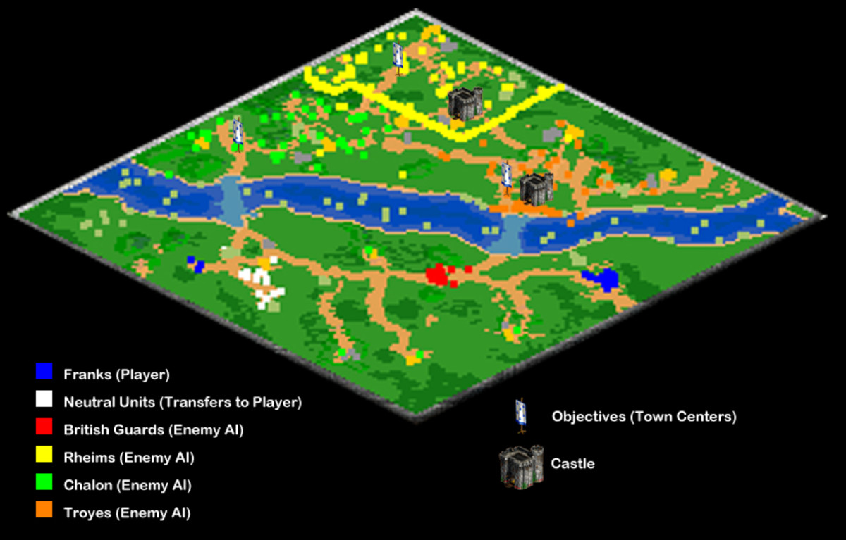 A view of what the map looks like at the beginning of the mission. All enemy forces expand to an extent, except red. Also, yellow builds a second castle, generally near the first, by the time you can reach them.
