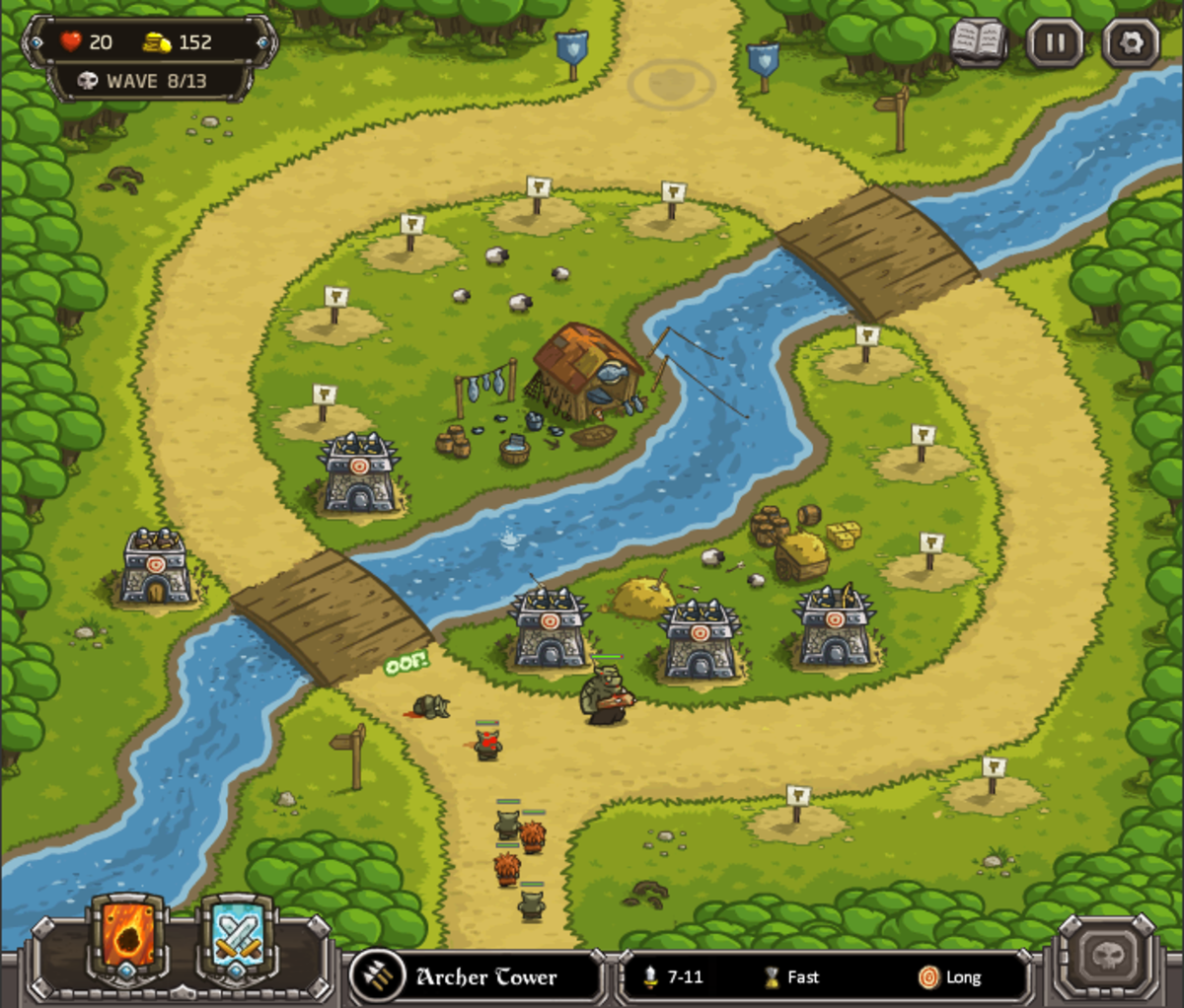 Kingdom Rush Walkthrough: Level 4 - Twin Rivers