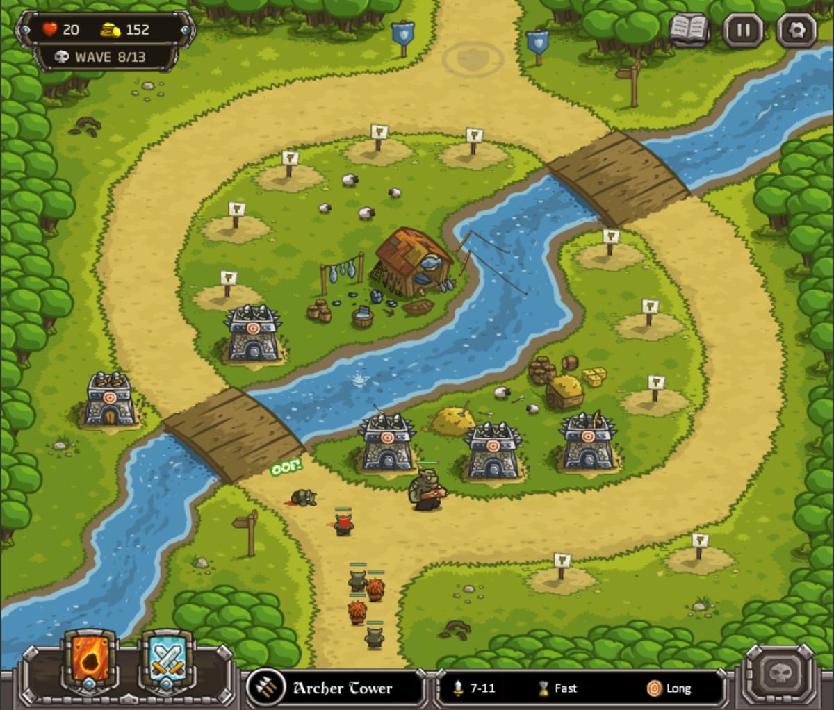 Kingdom Rush Walkthrough: Level 4 - Twin Rivers