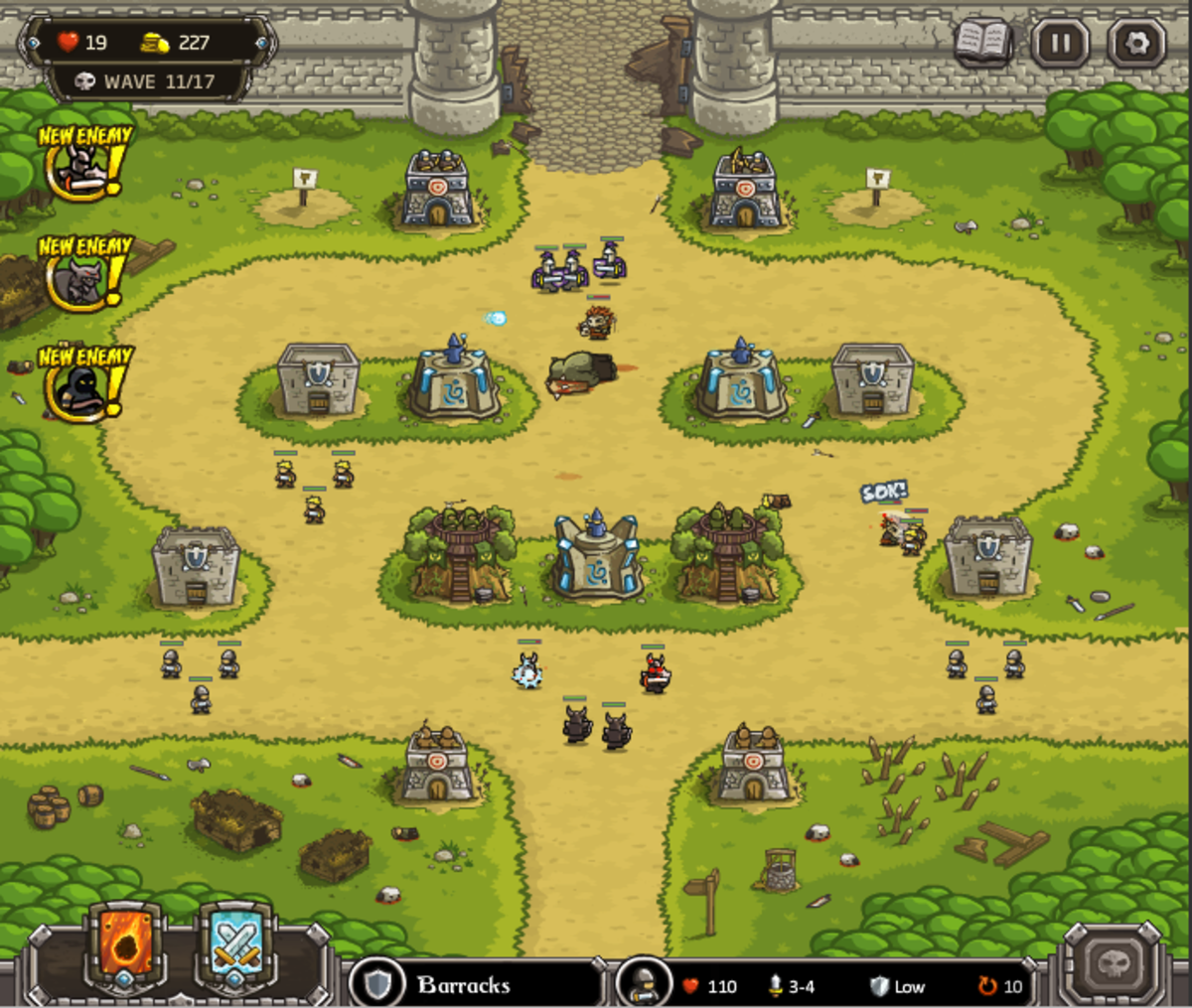 Kingdom Rush walkthrough: Level 6 - The Citadel
