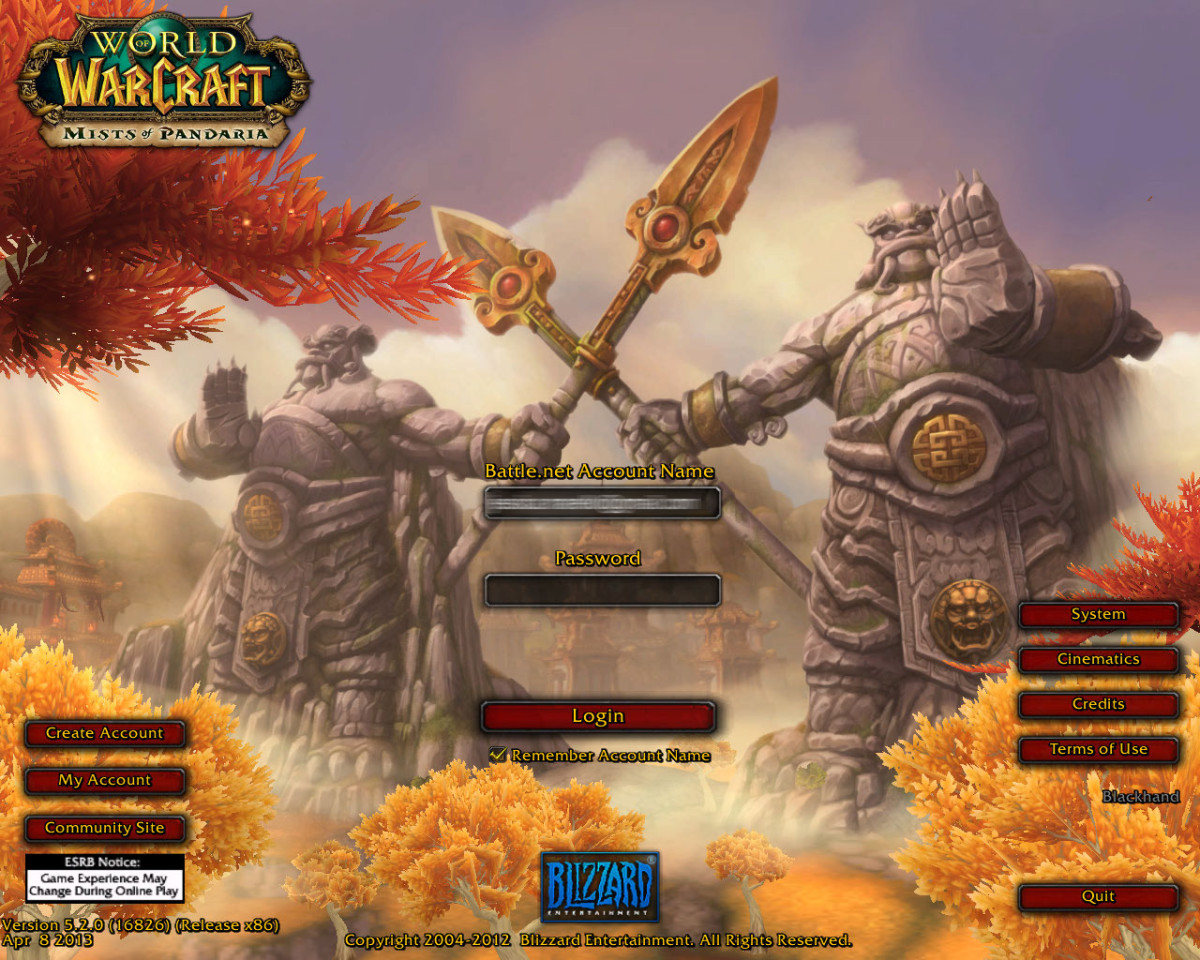 Starting up World of Warcraft brings the player to an gorgeous log in screen.