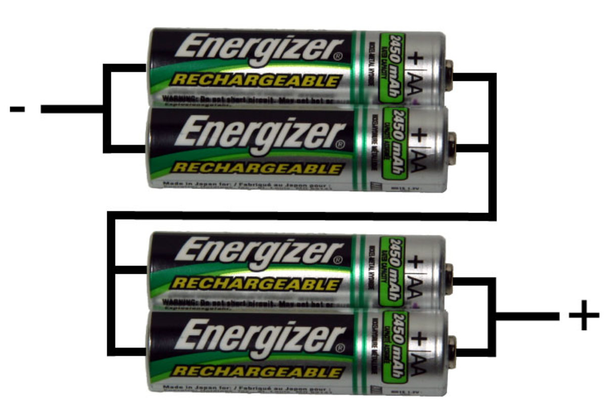 4 pieces of 1.5 Volt batteries, connected in series/parallel.