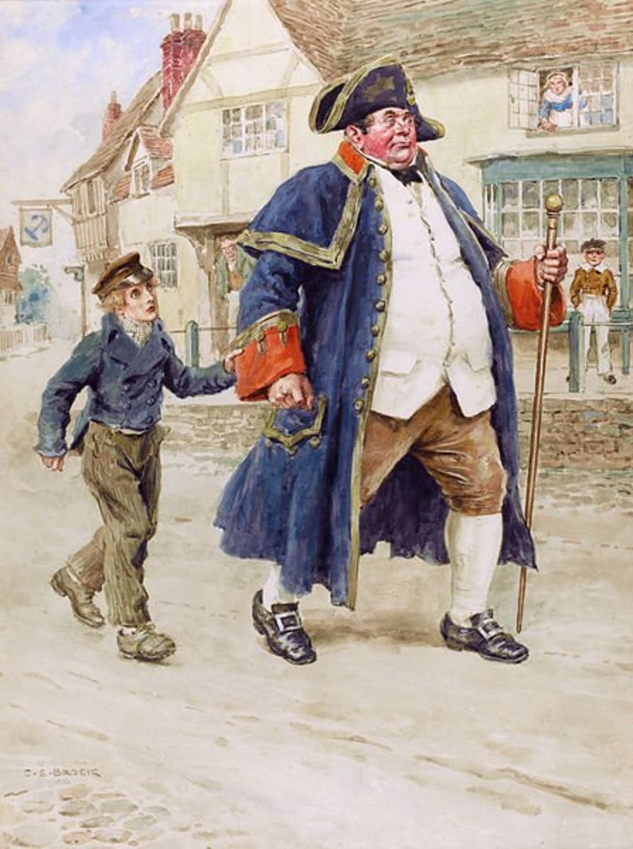 A beautiful illustration by Charles Edmund Brock, depicting the famous scene from Charles Dickens' 'Oliver Twist' when Mr Bumble sells the young orphan into labor.