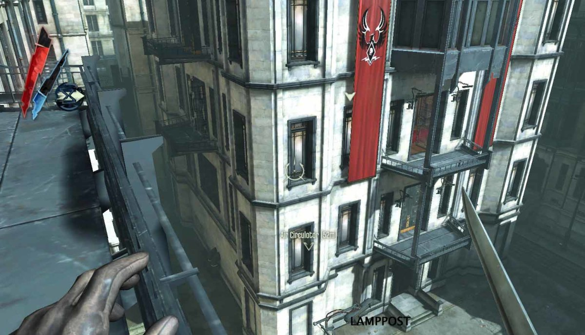 Dishonored Knife of Dunwall Neutralize Timsh. Know your surroundings near Timsh's buidling. Blink to the second floor balcony and then to the lamp post and from there to the third floor and across to apartments 7 and 10 on the left.