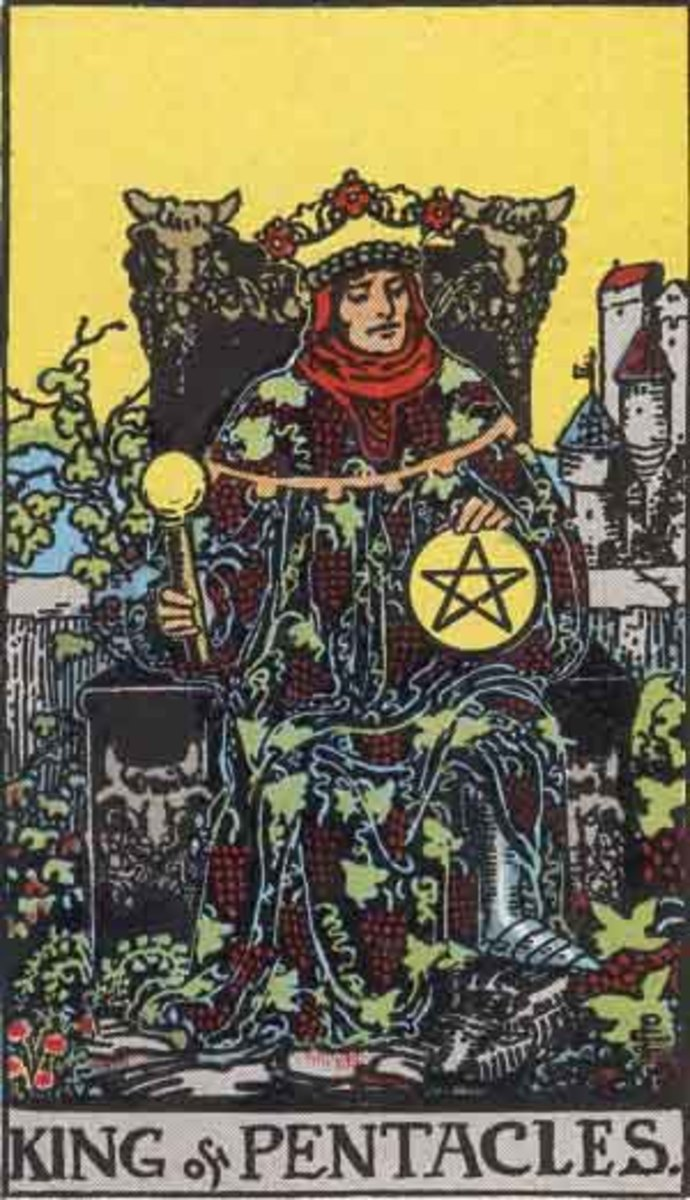 Rider-Waite King of Pentacles. Public Domain image. Pamela A. version c. 1909