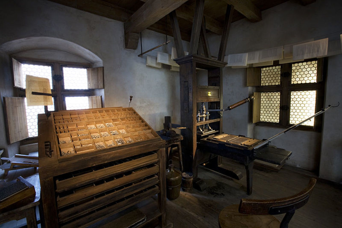 Johannes Gutemberg's 1449 first movable type printing workshop.