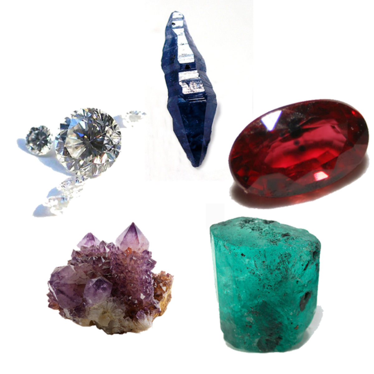 The five cardinal gems of antiquity. Clockwise from top: Sapphire, Ruby, Emerald, Amethyst, Diamond.