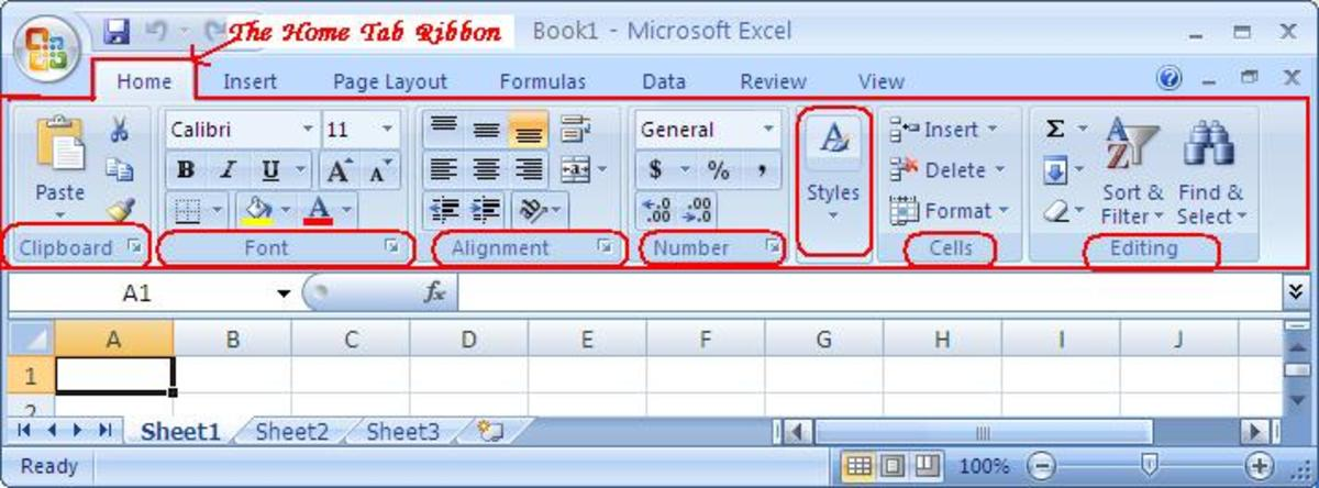 The Home Tab of Microsoft Excel 2007