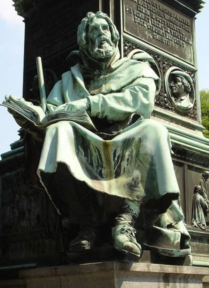 Statue of Peter Waldo at the Luther Memorial at Worms, Germany. Born