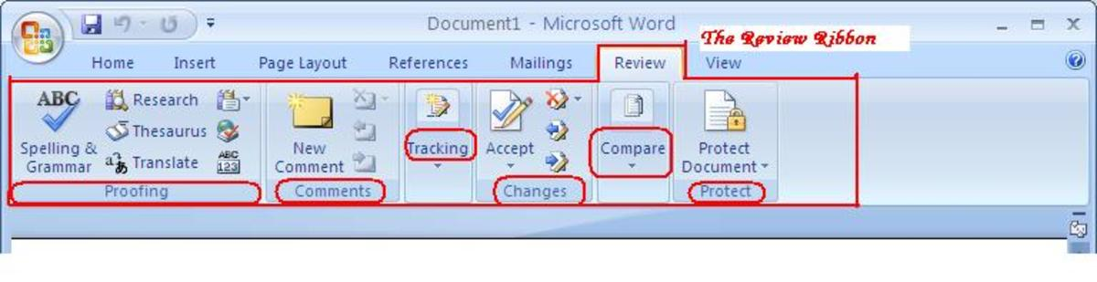 The Review Ribbon Tab of Microsoft Office Word 2007