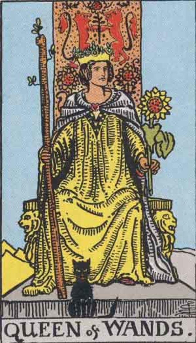 The Queen of Wands from the Rider-Waite deck. Public Domain image, Pamela A. version c.1909.