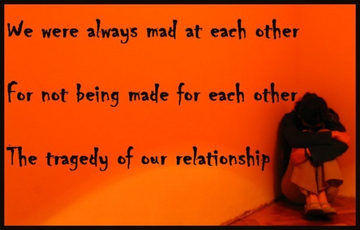 Breakup quote: The tragedy of our relationship was that we were always mad at each other for not being made for each other.