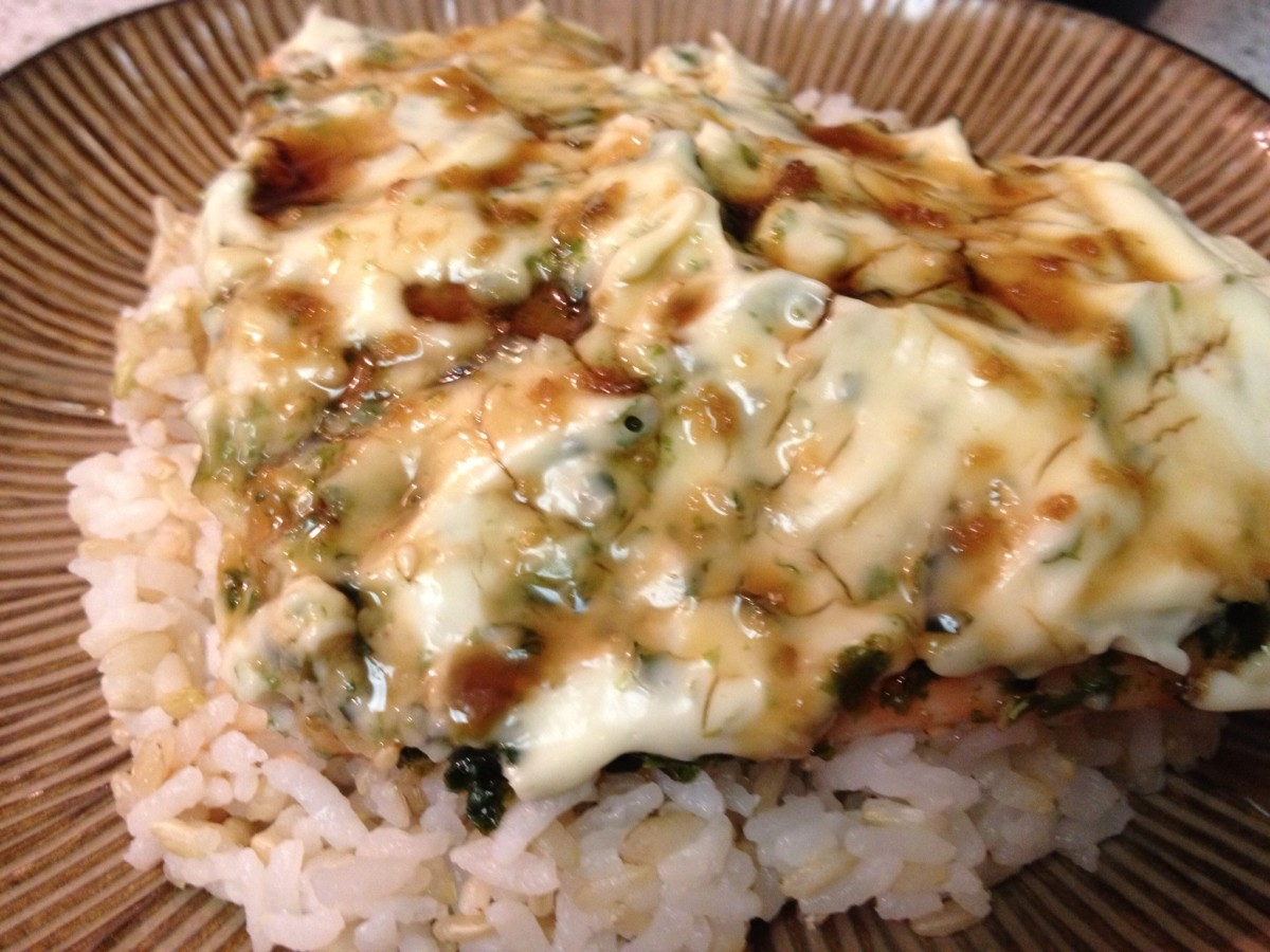 Wasabi-Mayo on Baked Furikake Salmon Topped With a Hawaiian-Style Drizzle