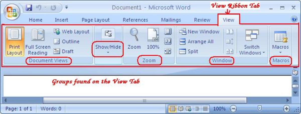 Using the View Tab of Microsoft Office Word 2007