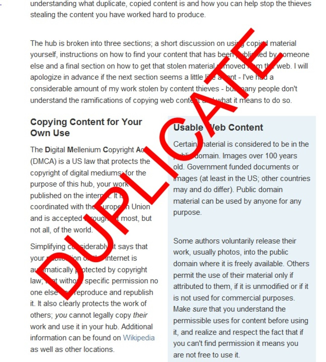 Copying Articles and Getting Duplicate Content Removed