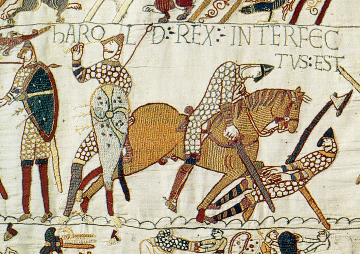 A scene from the Bayeux Tapestry depicting Harold Godwinson being struck in the eye by an Norman arrow.