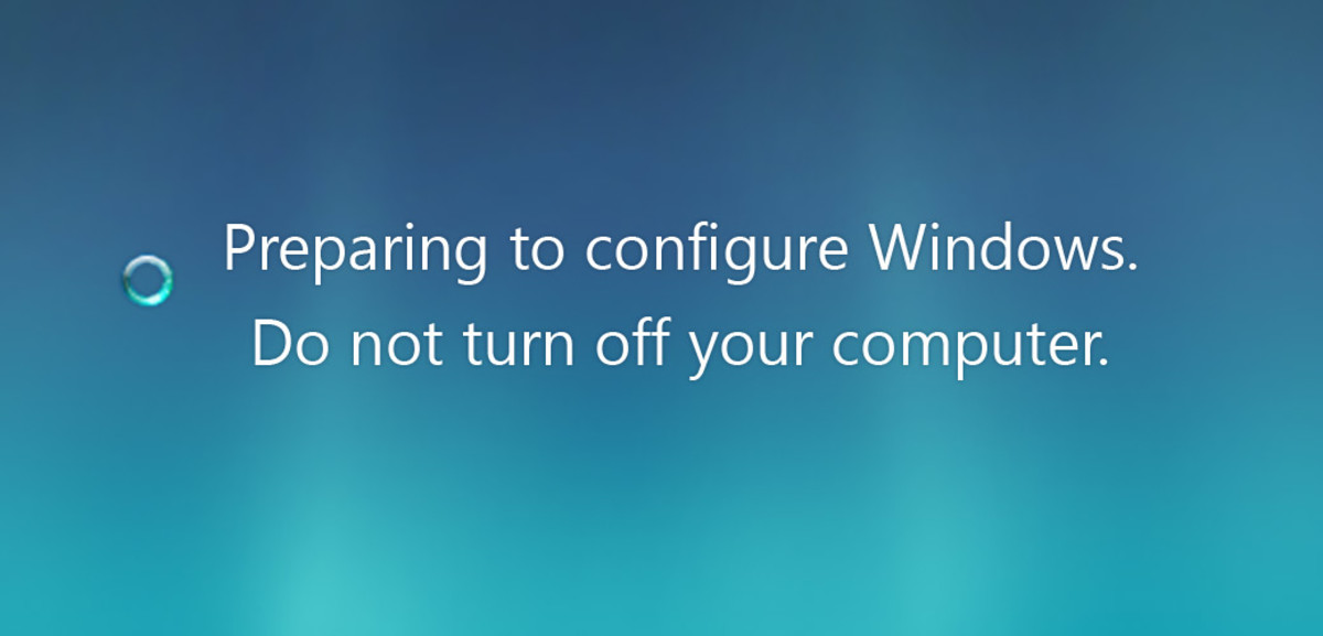 "Solution for Stuck ""Preparing to Configure Windows. Please Do Not Turn Off Your Computer."""