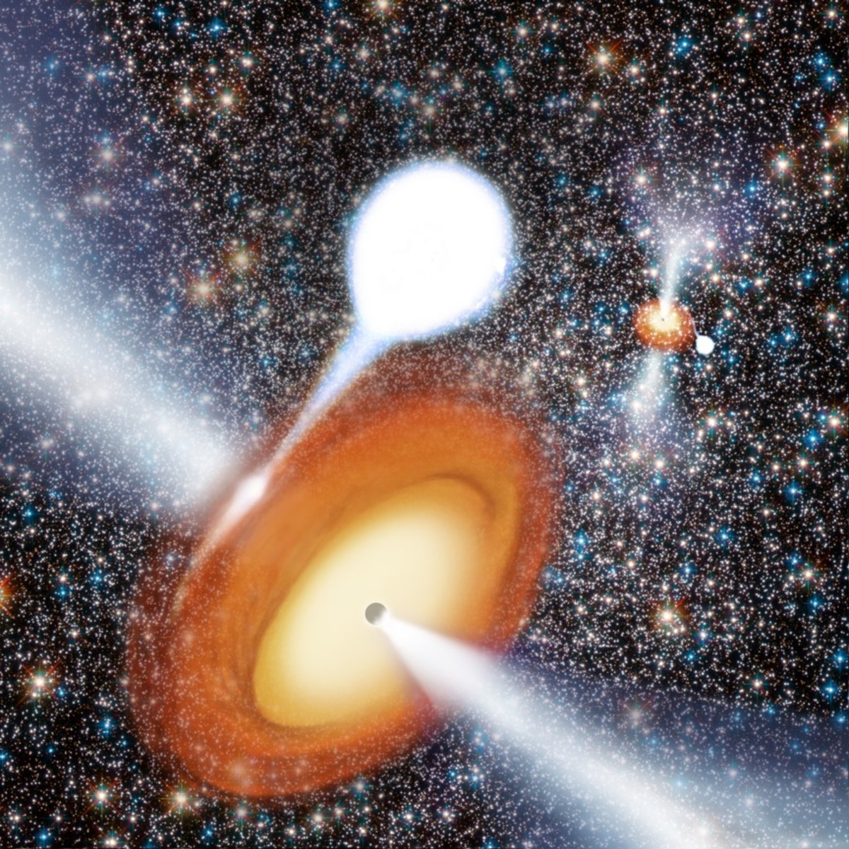 Artist concept of a black hole taking matter from a companion star.