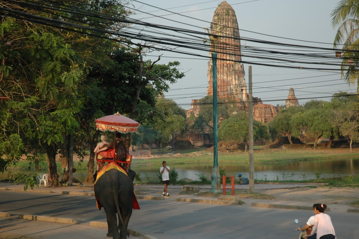Riding Elephants in Ayutthaya, Thailand