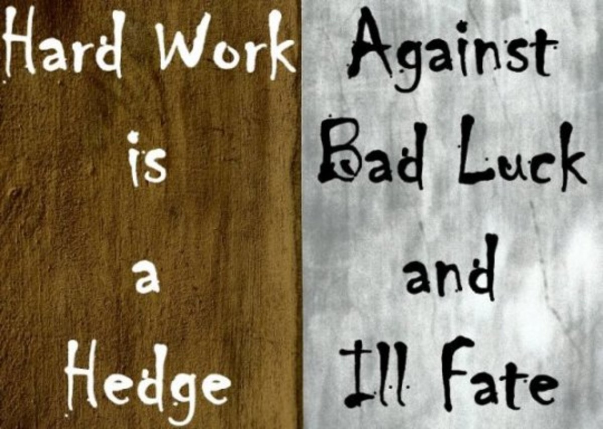Hard work quote: Hard work is a hedge against bad luck and ill fate.