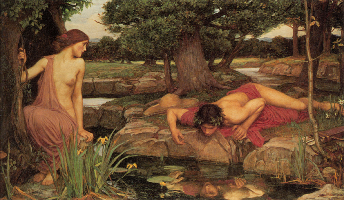 Narcissism comes from a Greek myth. Narcissus couldn't resist his own reflection.