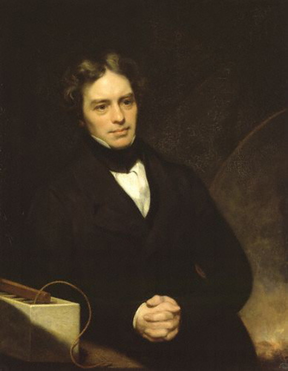 A portrait of Michael Faraday, the great inventor, by Thomas Phillips. Oil on canvas, 1841-1842.