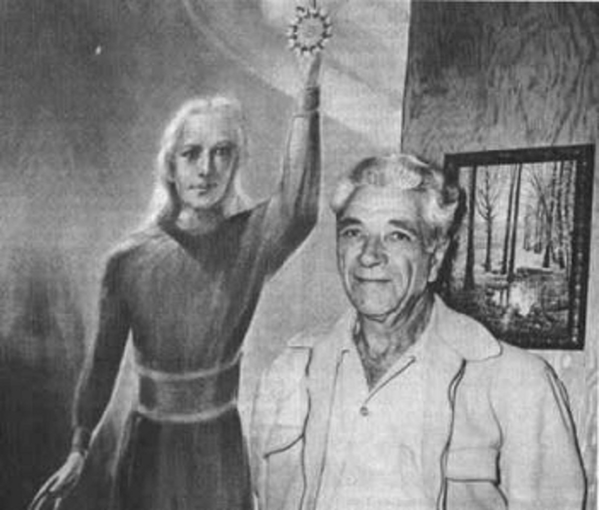 Adamski and a drawing of a Orthon, the Venusian alien