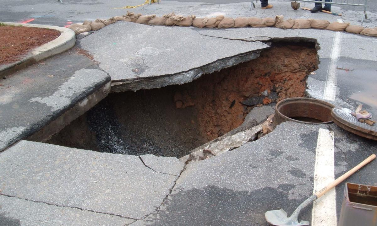 Sinkhole in parking lot near Georgia Tech, Atlanta