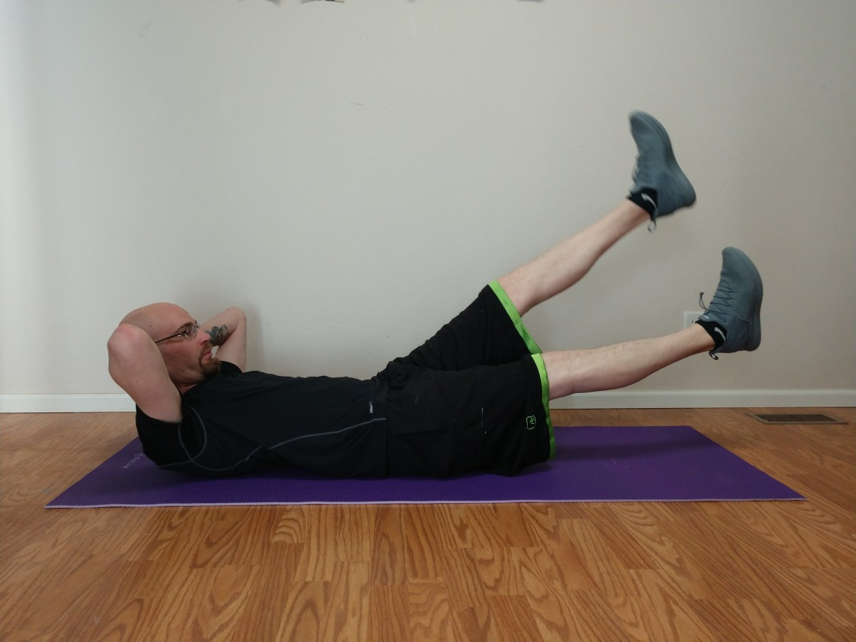 To do flutter kicks, lie flat on the floor with legs fully extended. Then move legs quickly up and down, alternating sides.